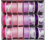 Ditipo Stuha viazacie saténová ružová svetlá, bodka 3 mx 25 mm