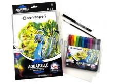 Centropen Aquarelle akvarelové farby sada 12 kusov + príslušenstvo