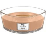 Woodwick Golden Milk - Zlaté mlieko vonná sviečka s dreveným širokým knôtom a viečkom loď 453 g