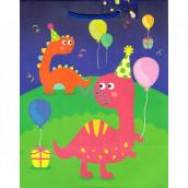 Ditipo Darčeková papierová taška strednej zelenomodrá Dinosaury 18 x 23 x 10 cm