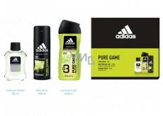 Adidas Pure Game voda po holení 50 ml + 3v1 sprchový gél na telo, tvár a vlasy 250 ml + dezodorant sprej 150 ml, kozmetická sada