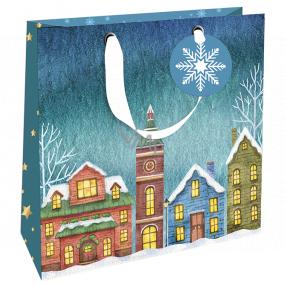 Nekupto Darčeková papierová taška luxusné 23 x 23 cm Vianočný domčeky WLIM 1976