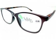 Berkeley Čítacie dioptrické okuliare +2 plast hnedé, farebné bočnice 1 kus MC2193