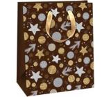 Ditipo Darčeková papierová taška 26,4 x 13,6 x 32,7 cm Glitter Vianočné čierna - strieborné a zlaté kolieska a hviezdičky