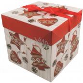 Darčeková krabička skladacia s mašľou Vianočný s červenými ozdobami 21,5 x 21,5 x 21,5 cm