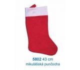 Mikuláš / Santa vianočné pančucha 43 cm, červenobiela