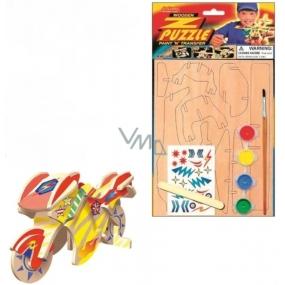 Puzzle drevené dopravné prostriedky Motorka 20 x 15 cm
