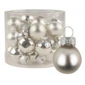 Sada skleněných baněk stříbrných 2 cm, 12 ks
