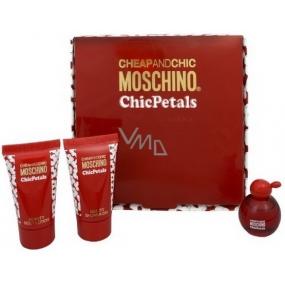 Moschino Cheap And Chic Chic Petals toaletná voda 4,9 ml + telové mlieko 25 ml + sprchový gél 25 ml, darčeková sada