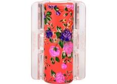 Linziclip Maxi Vlasový škripec perleťovo oranžový s kvetinami 8 cm vhodný pre hustejšie vlasy 1 kus