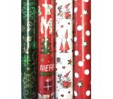 Zöllner Vianočný baliaci papier červený zelený nápis, stromčeky, snehuliak 2 mx 70 cm
