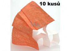Rúška 3 vrstvová ochranná zdravotné netkaná jednorazová, nízky dýchací odpor 10 kusov oranžová so širokými gumičkami