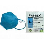 Famex Respirátor ústnej ochranný 5-vrstvový FFP2 tvárová maska modrá 10 kusov