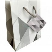 Nekupto Darčeková papierová taška 14 x 11 x 6,5 cm Šedé trojuholníky 2002 02 KFS