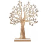 Strom drevený so zlatými hviezdami 22 x 30 cm s LED svetielkami