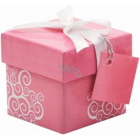 Dárková krabička skládací s mašlí 01 Růžová Mini 7 x 7 x 7 cm