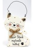 Nekupto Maznáčikovia Drevená ceduľka Pozor! Šialene roztomilá mačka 12 x 8,5 cm