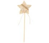 Dekorácia filcová béžová 6 cm hviezda + špajle 3738 4687