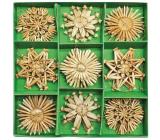 Slamené ozdoby v karbičce cca 6 cm, 26 kusov