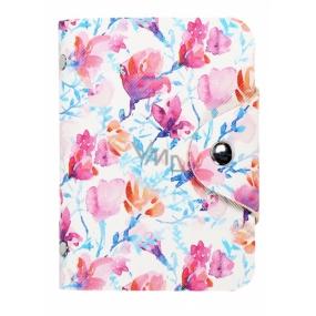 Albi Pouzdro na karty se zapínáním na cvoček Akvarel květy 7,5 x 10,7 x 2,5 cm