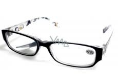 Berkeley Čítacie dioptrické okuliare +4 plast čierne stranice s obdĺžniky MC2084