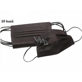 Rúška 3 vrstvová ochranná zdravotné netkaná jednorazová, nízky dýchací odpor 10 kusov čierna