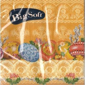 Big Soft Velikonoční papírové ubrousky vajíčka ornamenty oranžové 33 x 33 cm 20 kusů