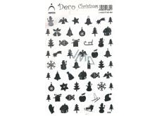 Arch Holografické dekoračné samolepky vianočné rôzne motívy strieborné