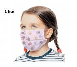 Rúška 3 vrstvová ochranná zdravotné netkaná jednorazová, nízky dýchací odpor pre deti 1 kus ružová potlač labka