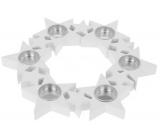 Svietnik Hviezdy v kruhu, drevený, biely 310 mm na 6 kusov čajových sviečok