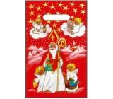 Anděl Igelitová taška červená Mikuláš, andílci 32 x 20 cm