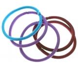 Vlasová gumička vínová, fialová, tyrkysová 5 x 0,4 cm 5 kusov