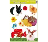 Room Decor Okenné fólie bez lepidla veľkonočné živá králiky a kura 42 x 30 cm