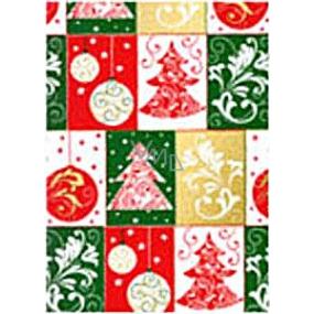 Ditipo Darčekový baliaci papier 70 x 500 cm Vianočné farebný stromčeky, banky