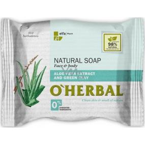 O Herbal Natural Aloe Vera a zelená hlína přírodní toaletní mýdlo 100 g