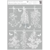 Room Decor Okenné fólie bez lepidla Biela sušené kvety 42 x 30 cm
