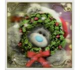 Me to You Blahoželania do obálky 3D Prianie k Vianociam, Vianočné medveď s venčekom 15,5 x 15,5 cm