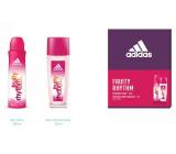 Adidas Fruity Rhythm parfumovaný dezodorant sklo pre ženy 75 ml + dezodorant sprej 150 ml, kozmetická sada