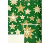 Nekupto Darčekový baliaci papier 70 x 500 cm Vianočný zelený zlaté hviezdy