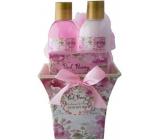Salsa Collection Ružová pivonka sprchový gél 150 ml + telové mlieko 150 ml + toaletné mydlo 100 g + umývacie žinka, kozmetická súprava hranatý kvetináč