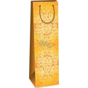 Ditipo Darčeková papierová taška na fľašu 12,3 x 7,8 x 36,2 cm hnedá žltý vzor ST