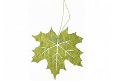 List drevený zelený na zavesenie 10 cm