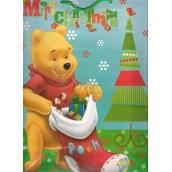 Ditipo Disney Dárková papírová taška dětská L Medvídek Pú Merry Christmas 26 x 13,5 x 32 cm