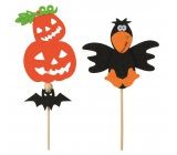 Halloweenska filcová dekorácie 9 cm + špajle 1 kus