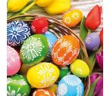 Aha Veľkonočné papierové obrúsky ošatka, farebné vajíčka, tulipán 3 vrstvové 33 x 33 cm 20 kusov