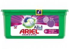Ariel All in 1 Pods Color & Style Complete Fiber Protection gélové kapsule na pranie farebnej bielizne 30 kusov 756 g