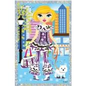 Vyškrabávací obrázok bábiky s psíkom 21,5 x 11 cm