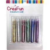 CreaFun Dekoračné trblietky sada farebné dlhé tuby 6 x 3 g