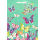 Ditipo Darčeková papierová taška strednej zelená farební motýle 18 x 23 x 10 cm