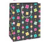 Ditipo Darčeková papierová taška veľká čierna farebné kvietočkov 26 x 32,5 x 13,8 cm